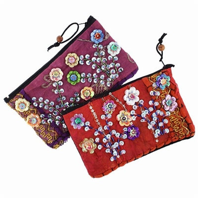 Sequin Flowers Coin Bag