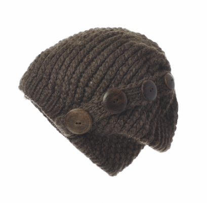 Four Button Knit Beret Cap