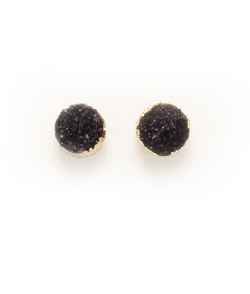 Small Round Druzy Earrings