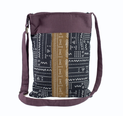 Mud Cloth Print Messenger Bag