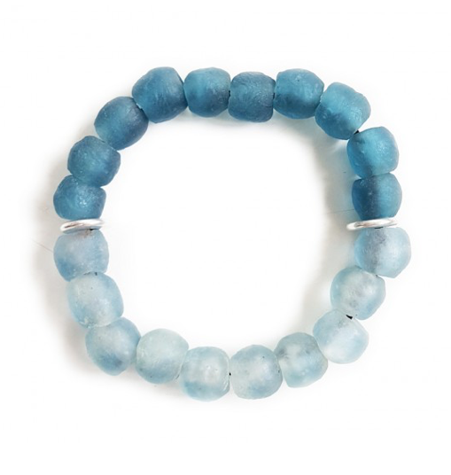 Cool Water Recycled Glass Bracelet