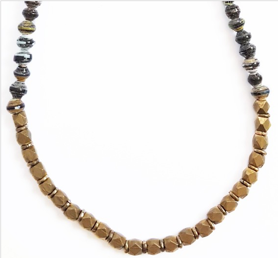 "Paper Bead 16"" Halifax Necklace - Dusk"