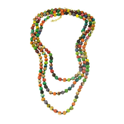 "Kantha 61"" small bead Necklace"