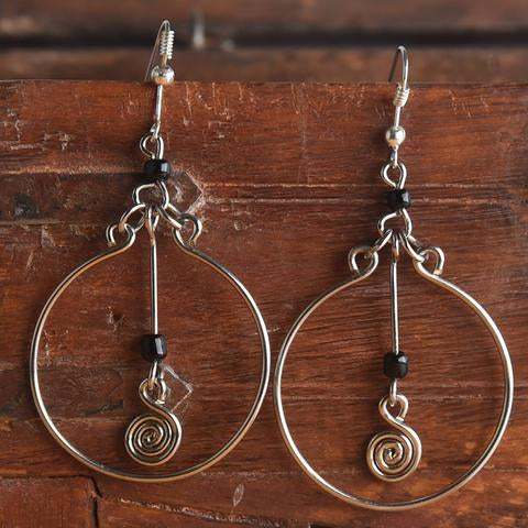 Silver Earrings- Black Dangle
