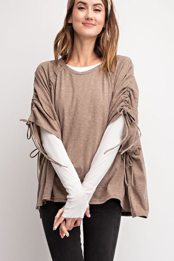 Ruched Shoulders Boxy Top