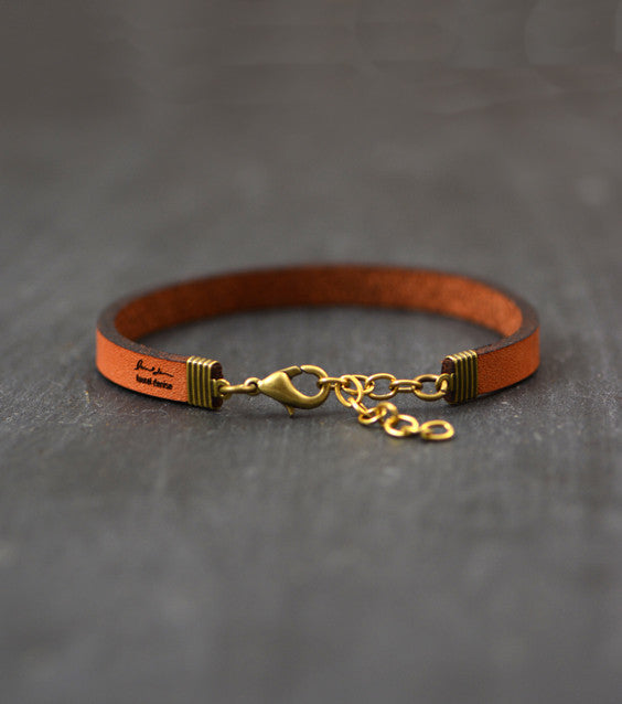 Inspirational Engraved Leather Bracelet - Gold
