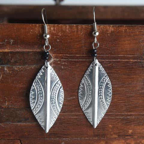 Silver Earrings-Leaf