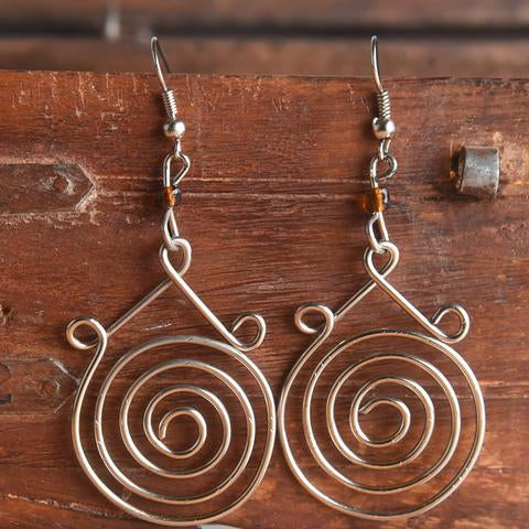 Silver Earrings-spirals