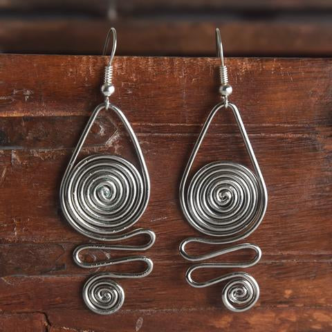 Silver Earrings-squiggle