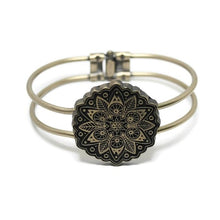 Load image into Gallery viewer, Mandala Hinged Cuff Bracelet