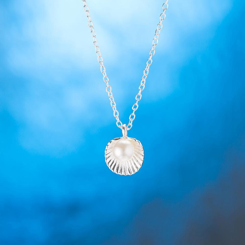 Seashell Pearl White Gold Necklace