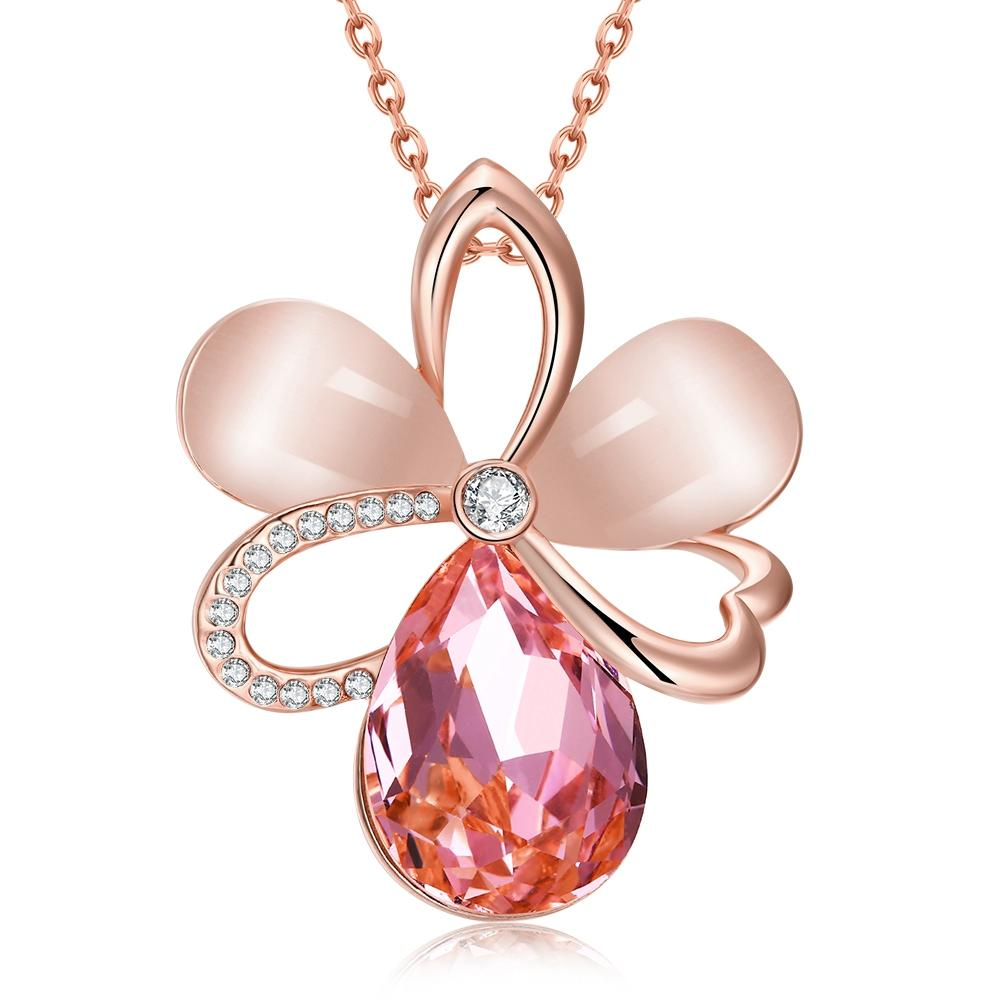 Pink Topaz Flower Necklace
