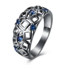 Load image into Gallery viewer, Blue Geometrical Cutout Ring