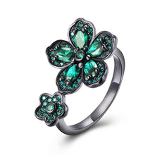 Load image into Gallery viewer, Green Swarovski Flower Ring