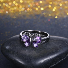Load image into Gallery viewer, Purple Swarovski Butterfly Ring