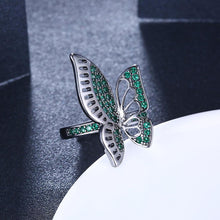 Load image into Gallery viewer, Green Swarovski Butterfly Ring