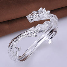 Load image into Gallery viewer, Majestic Dragon White Gold Bangle