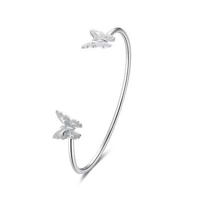 Twin Butterfly White Gold Bangle