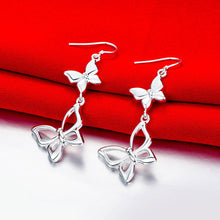 Load image into Gallery viewer, Double Butterfly Drop Earrings