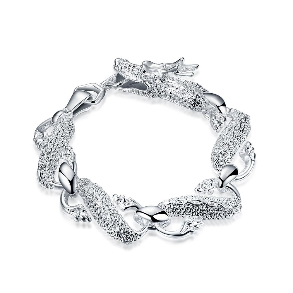 Oriental Dragon White Gold Bracelet