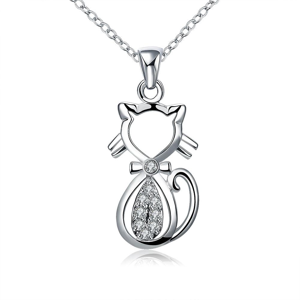 Kitty Cat White Gold Necklace