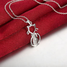 Load image into Gallery viewer, Kitty Cat White Gold Necklace