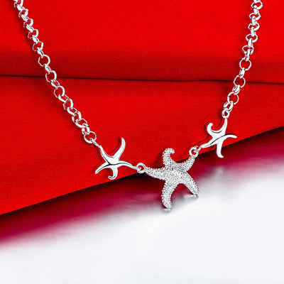 Triple Starfish White Gold Necklace
