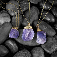 Load image into Gallery viewer, Natural Amethyst Gold Necklace