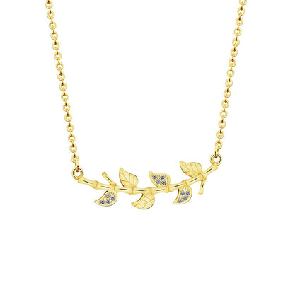 Crystal Leaf Branch Necklace