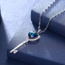 Load image into Gallery viewer, Blue Swarovski Heart Key Necklace