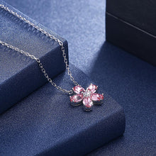 Load image into Gallery viewer, Pink Swarovski Flower Necklace