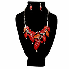 Load image into Gallery viewer, Red Fall Leaves Jewelry Set
