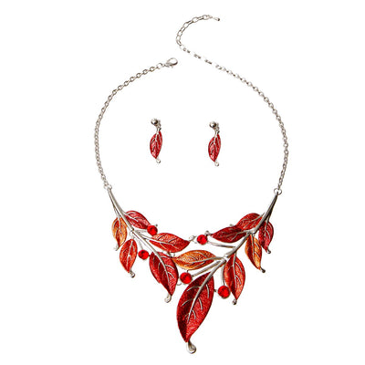 Red Fall Leaves Jewelry Set