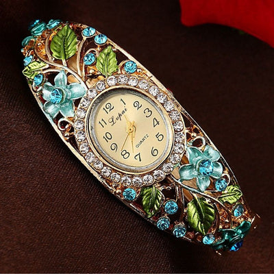 Bracelet - Flower Gemstone Watch Bracelet