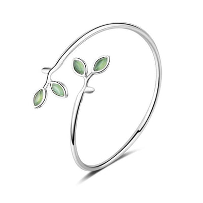 Bracelet - Green Opal Leaves Silver Bangle