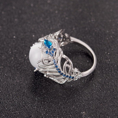 Classy Feather Opal Ring