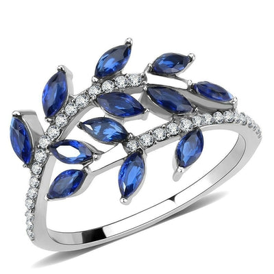 Blue Crystal Leaves Stainless Steel Ring