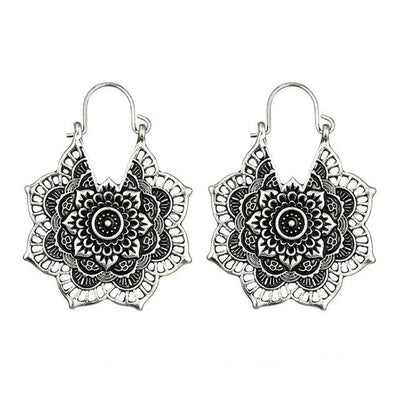 Earrings - Boho Mandala Hoop Earrings