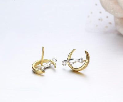 Earrings - Cat & Moon Sterling Silver Stud Earrings