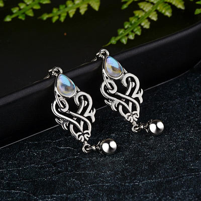 Earrings - Celtic Rainbow Moonstone Earrings