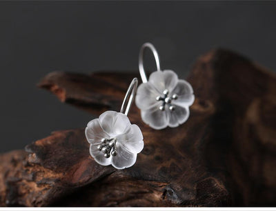 Earrings - Clear Cherry Blossom Sterling Silver Earrings