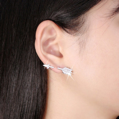 Earrings - Crystal Arrow Sterling Silver Earrings