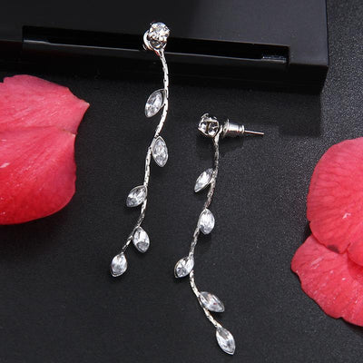 Earrings - Crystal Leaves Dangling Earrings