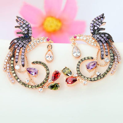 Earrings - Crystal Phoenix Stud Earrings