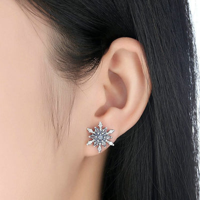Earrings - Crystal Snowflake Stud Earrings