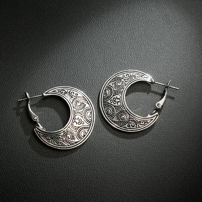 Earrings - Ethnic Style Carved Moon Earrings
