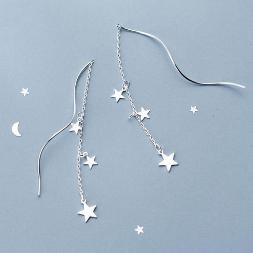 Earrings - Falling Stars Silver Earrings