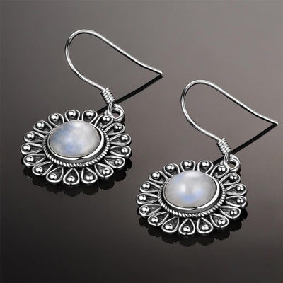 Earrings - Flower Moonstone Silver Earrings