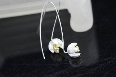 Earrings - Lotus Silver Drop Earrings