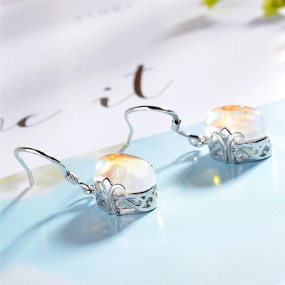 Earrings - Lovely Moonstone Silver Earrings